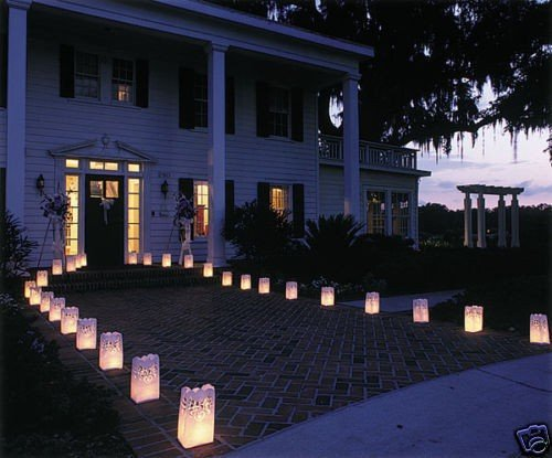 White Luminary Bags - 20 Count - Star Moon Design - Wedding, Reception, Party and Event Decor - Flame Resistant Paper - Luminaria by Since (Star Moon)