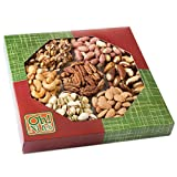 Healthy Snacks, Dry Roasted Nuts Unsalted, 7 Variety Food Gift, No Additives NO OIL NO SALT Great Gift for Him or Her, Vegans and Vegetarians- Oh! Nuts (Unsalted Nuts Gift Tray)