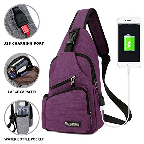 Peicees Small Travel Gym Bike Sling Bag, Laptop iPad Mini Sling Chest Cross Body Backpack, Water Resistant One Shoulder EDC Crossbody Daypack with Water Bottle Pocket USB Charging for Men Women ()