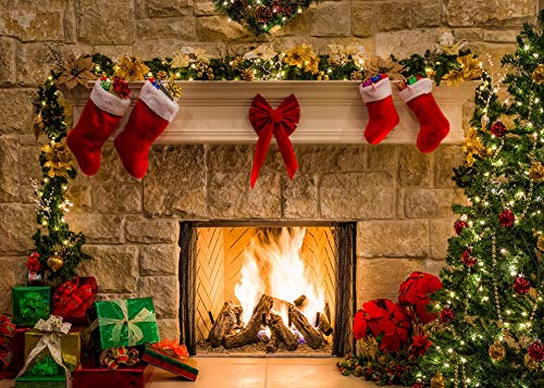 DANIU Merry Christmas Eve Photo Backdrop Christmas Trees Xmas Fireplace Gifts Red Bow Stocking Backgrounds for Photography 210cmX150cm (Out Blurred Lights Christmas)