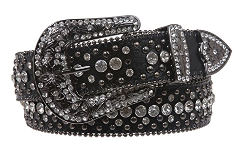 Snap On Rhinestone and Gun Metal Color Circle Studded Leather Belt, Black | S/M - 31 - Circle Studded Black Belt