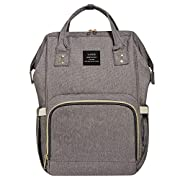 inxxmix Diaper Bag Multi-Function Waterproof Travel Backpack Nappy Bags for Baby Care, Large Capacity, Stylish and Durable, Orange Maternity Bag(Gray)