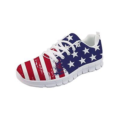 83f5b464c570ae Amazon.com | HUGS IDEA Fashion Women's Running Sneakers US Flag Print  Lightweight Breathable Sport Walking Shoes | Fashion Sneakers