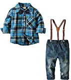 Boys Vintage Suspender Set Denim Overalls Outfit Long Sleeve Stripe Shirt Suits