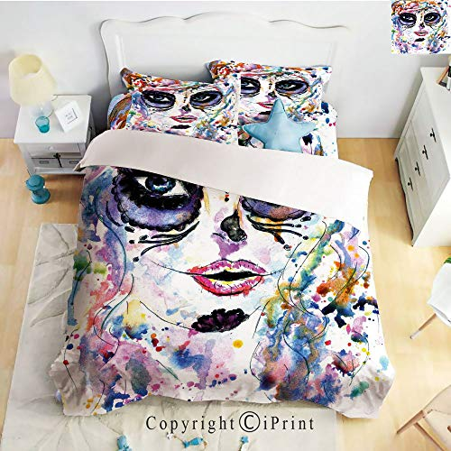 Homenon Bed Sheet Set Twill Sanding,Halloween Girl with Sugar Skull Makeup Watercolor Painting Style Creepy Decorative,Multicolor,Queen Size,Wrinkle,Stain Resistant Hypoallergenic 4 Piece -