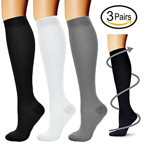 Compression Socks (3 Pairs), 15-20 mmhg is BEST Athletic & Medical for Men & Women, Running, Flight, Travel, Nurses - Boost Performance, Blood Circulation & Recovery (Large/X-Large, Black+White+Gray)