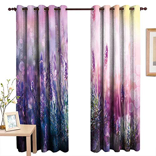 Pattern Curtains Lavender,Fantasy Dreamlike Herbal Meadow Close Up View Magical Nature Theme,Teal Light Pink Lilac,Living Room and Bedroom Multicolor Printed Curtain Sets 54