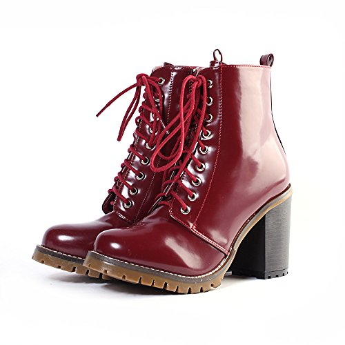 Alexis Leroy Women's Classical Style Solid Lace-up High-heel Combat Boots (38 EU / 7-7.5 US, Wine Red)