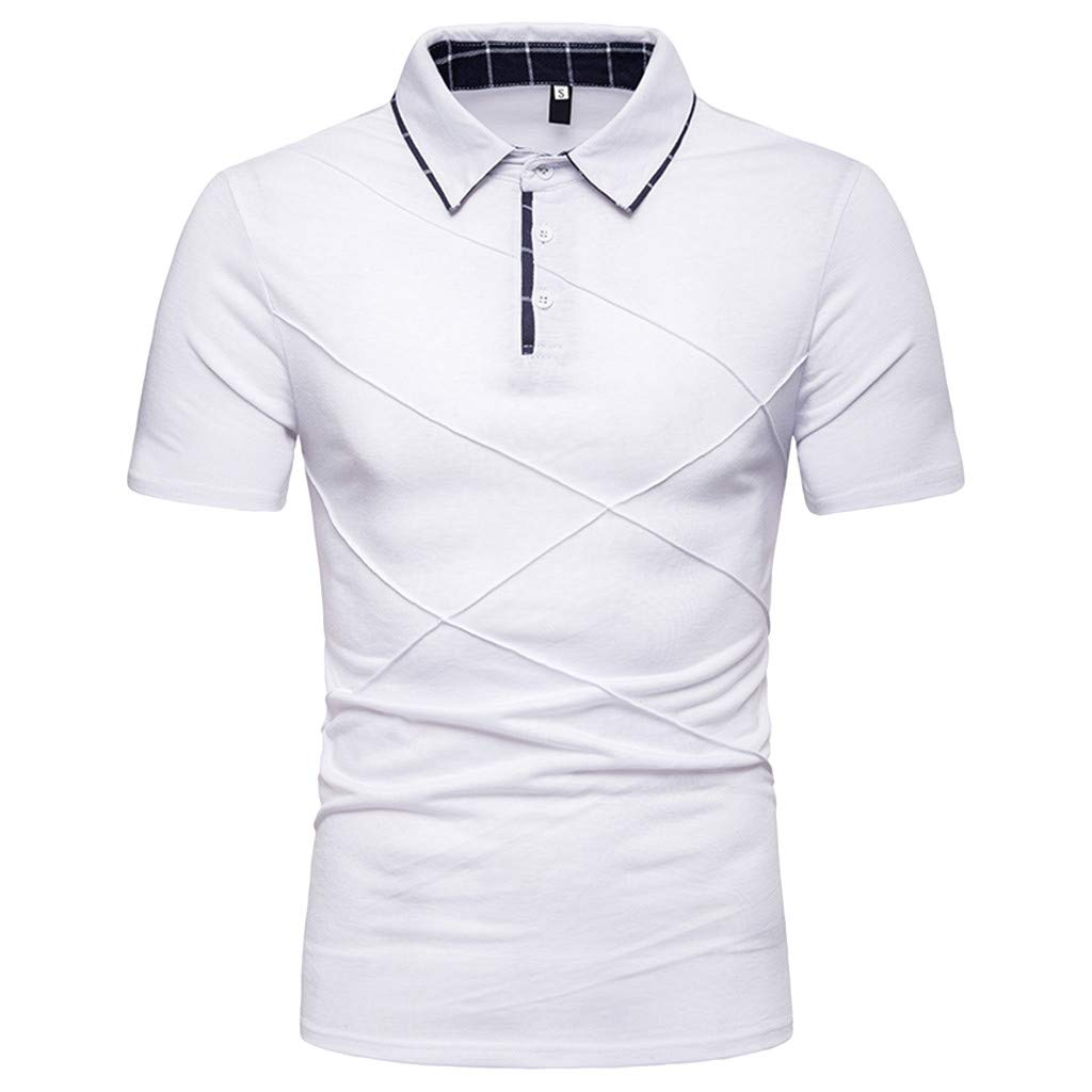 POQOQ Mens Casual Stand Collar Button Stripe Short Sleeve Top Blouse