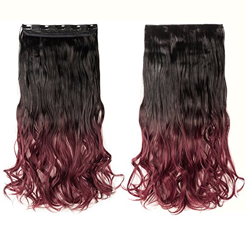 Snoilite 24quot/26quot Gradient Straight Curly 3/4 Full Head One Piece Clip in Hair Extensions Dip Dye Ombre Synthetic Hairpieces 24quotCurly Dark Brown to Plum Red
