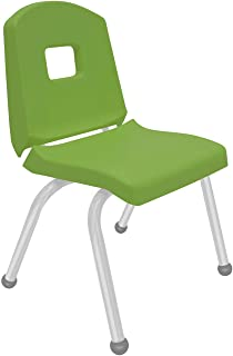 """product image for Creative Colors 1-Pack 14"""" Kids Preschool Stackable Split Bucket Chair in Sour Apple with Platinum Silver Frame and Ball Glide"""