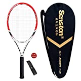 Senston Adult Tennis Racket Prestrung Tennis Racquet,Strung with Cover,Tennis Overgrip, Vibration Damper(Red)