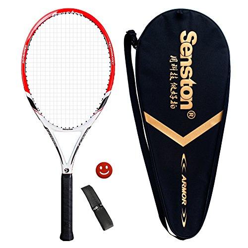Senston Adult Tennis Racket Prestrung Tennis Racquet,Strung with Cover,Tennis Overgrip, Vibration Damper(Red)