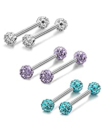 Fiasaso 6-8 Pcs 14G 316L Stainless Steel CZ Nipple Piercing Barbell Belly Button Ring for Women