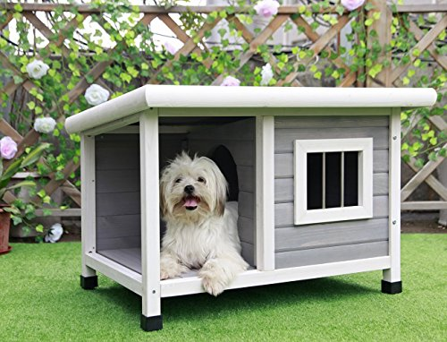 Petsfit Outdoor Wooden Dog House for Small - Painted Bed Canopy