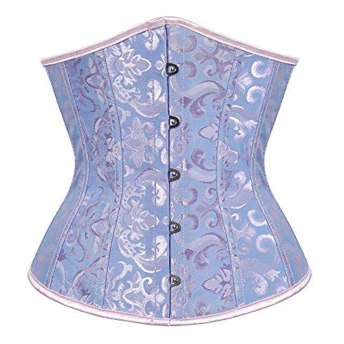 frawirshau Women Lace Up Boned Underbust Corset Bustier Waist Cincher Bodyshaper Blue L