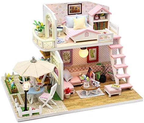 Yamix DIY Miniature DollhouseFurniture Kit Handmade DIY Doll House Kit Wooden Mini Pink PenthouseLED Light Music Box / Yamix DIY Miniature DollhouseFurniture Kit Handmade DIY Doll House Kit Wooden Mini Pink PenthouseLED Light Music...