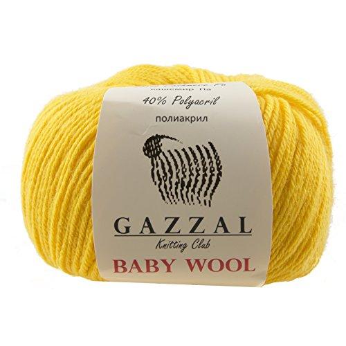 Gazzal Baby Wool 1.76 Oz (50g) / 218 Yards (200m) Fine Baby Yarn, 40% Lana Merino, 20% Cashmere Type Polyamide; (Yellow - 812)