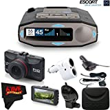Escort 0100037-1 Max 360C Radar Laser Detector with Wi-Fi + Minolta 1080p Full HD Dash Cam with Night Vision and Motion Detection Accessory Bundle