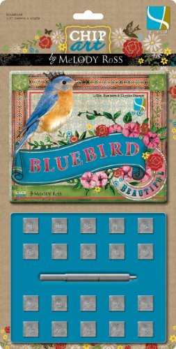 Alphabet Stamp and Punch Set, Bluebird Numbers and Glyphs 1/2-Inch (Mini Alphabet Chipboard Set)