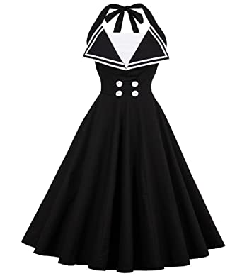 Aecibzo Womens Vintage 50s Stlye Halter Rockabilly Pinup Party