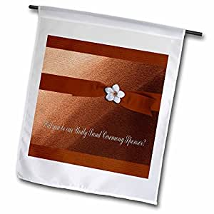 Beverly Turner Wedding Attendant and Bridal Party Design - Unity Sand Ceremony Sponsor, Autumn Ribbon with Flower on Peach - 18 x 27 inch Garden Flag (fl_43424_2)