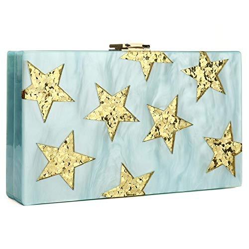 Handbag Clutch Shoulder Evening Acrylic Box Stripes Skyblue for IBELLA Party Bag gI5xwPRgq