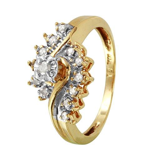 0.15 Carat Natural Diamond 10K Yellow Gold Engagement Ring for Women Size 7 (Diamond Natural Ct 0.15)