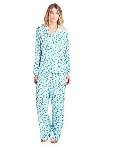 Casual Nights Women's Long Sleeve Floral Button Down Pajama Set - Green Floral - XX-Large