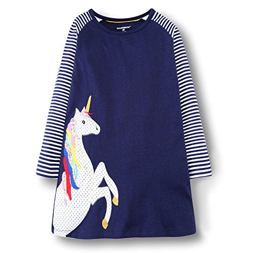 BEILEI CREATIONS Little Girls Cotton Casual Long Sleeve Cartoon Princess Dress