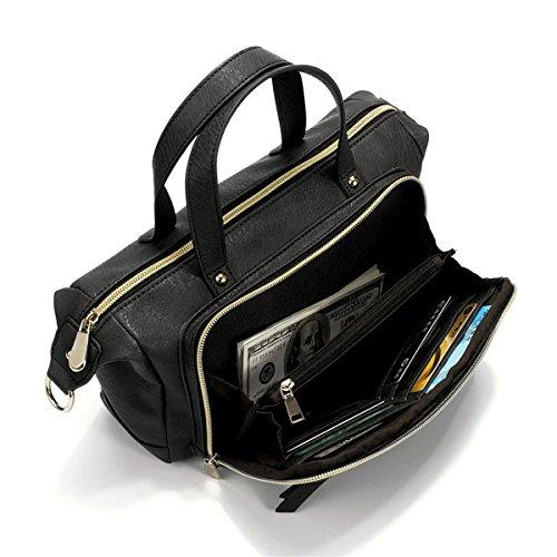 Brenice Multi Pockets Shoulder Bags Vintage Walles Motorcycle Bag For Women Black 9.45''x 3.15''x 6.30''(LxWxH)