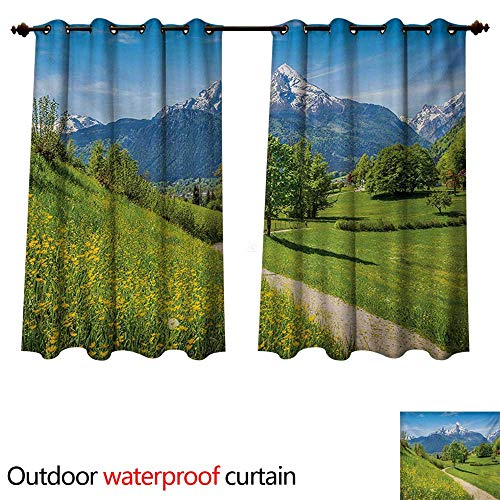 - WilliamsDecor Mountain Outdoor Ultraviolet Protective Curtains Spring Scenery in Alps with Floral Grass and Snowy Mountain Tops in Rural Village W72 x L63(183cm x 160cm)