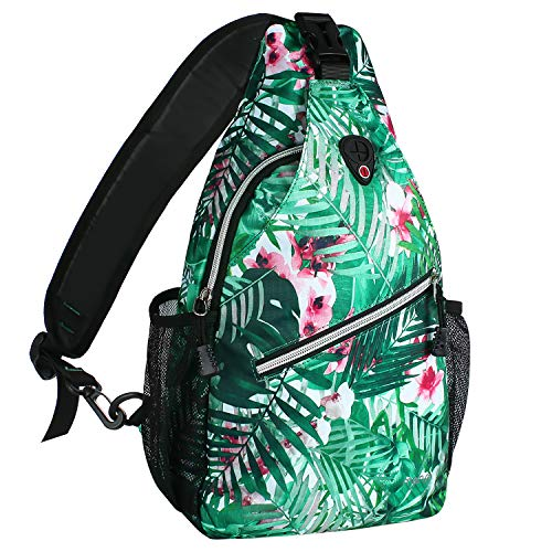 MOSISO Sling Backpack, Multipurpose Crossbody Shoulder Bag Travel Hiking Daypack, Palm Leaf Flower