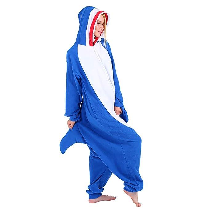 Mallalah Pijamas de Tiburón Unisex para Adultos Traje de Pijama de Animal Pijama de Felpa con Capucha Cosplay