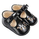 Baby Girls Christening Baptism Mary Jane Soft Sole Classic Hollow Princess Dress Flat Shoes Black Size M