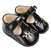 Baby Girls Christening Baptism Mary Jane Soft Sole Classic Hollow Princess Dress Flat Shoes Black Size S