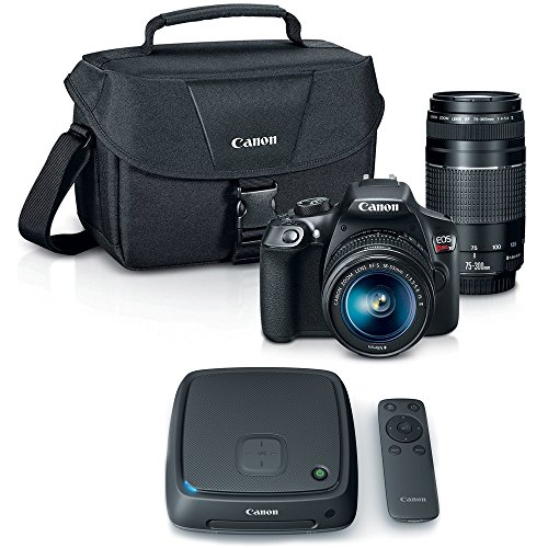 Canon EOS Rebel T6 SLR Camera w/ 18-55mm and 75-300mm Lens Kit + CS100 1TB Connect Station Storage Hub Bundle by Canon