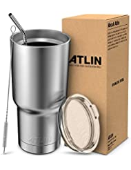 Atlin Tumbler [30 oz. Double Wall Stainless Steel Vacuum Insulation] Travel Mug [Crystal Clear Lid] Water Coffee Cup [Straw Included]For Home,Office,School - Works Great for Ice Drink, Hot Beverage