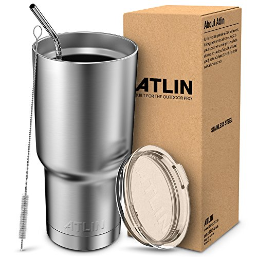 Atlin Tumbler [30 oz. Double Wall Stainless Steel Vacuum Insulation] Travel Mug [Crystal Clear Lid] Water Coffee Cup [Straw Included]For Home,Office,School - Works Great for Ice Drink, Hot Beverage ()