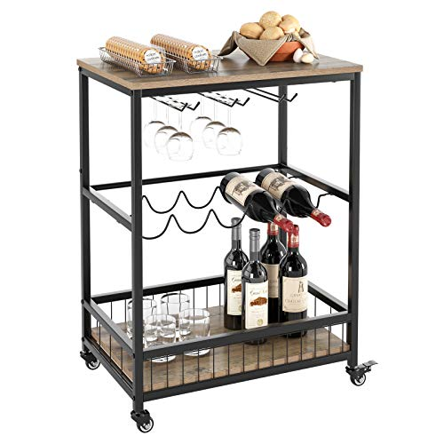 HOMECHO Bar Serving Cart Table Kitchen Wine Storage Cart with Wine Rack/Glass Holder, Serving Trolley with Lockable Wheels for Home, Brown