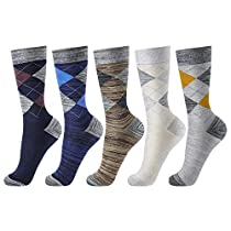 OKISS Mens Cotton Thermal Argyle Socks 5 Packs Colorful Pattened Casual Crew