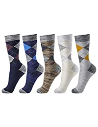 Mens Dress Socks OKISS Colorful Patterned Cotton Casual Crew Socks 5pack Argyle