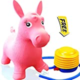 Image of ToysOpoly Inflatable Horse Bouncer - Cutest Ride-on Bouncy Animal Hopper for Kids with Best Eco-friendly Rubber - Compatible with Gymnic Rody Toys: Bouncing Reindeer, and Hopping Ball (Pink)