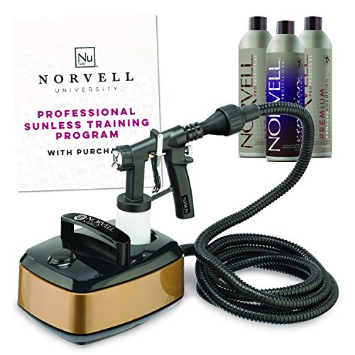 Norvell Sunless Kit - Pro X550 HVLP Spray Tan Airbrush Machine System + 8 oz Tanning Solutions in Clear Plus, Venetian and Dark + Norvell Training Program (Retail Value $470)