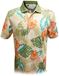 Mens Dry Swing Wooden Hawaiian Print Polo Shirt #1535