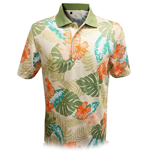 - Monterey Club Mens Dry Swing Wooden Hawaiian Print Polo Shirt #1535 (Stone/Sage, X-Large)