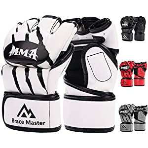 Brace Master MMA Gloves UFC Gloves Boxing Training Gloves Men Women Leather More Padding Fingerless Punching Bag Gloves for The Kickboxing, Sparring, Muay Thai Heavy Bag