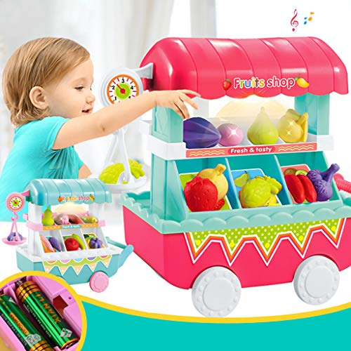 LtrottedJ Kids Play House Musical Light Pretend Play Food Plastic Fruit Cart Toys (Hot Pink)