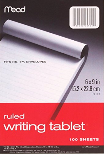- Mead Plain Writing Tablet, 6 x 9 Inches, 100 Sheets (70104)