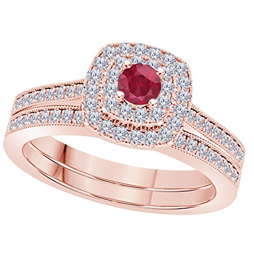1 Ct Round Cut Cz Red Ruby & Simulated Diamond 14k Rose Gold Plated Wedding Bridal Set Double Halo Engagement Ring